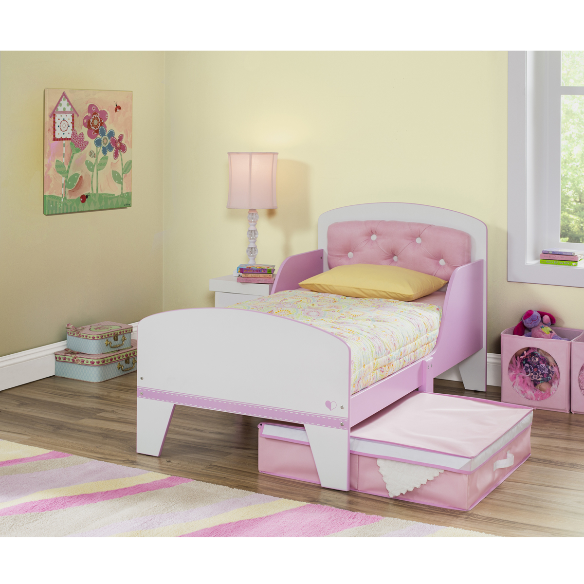 Kids Headboards Delta Children Jack Jill Toddler Bed With Upholstered Headboard In Pink White