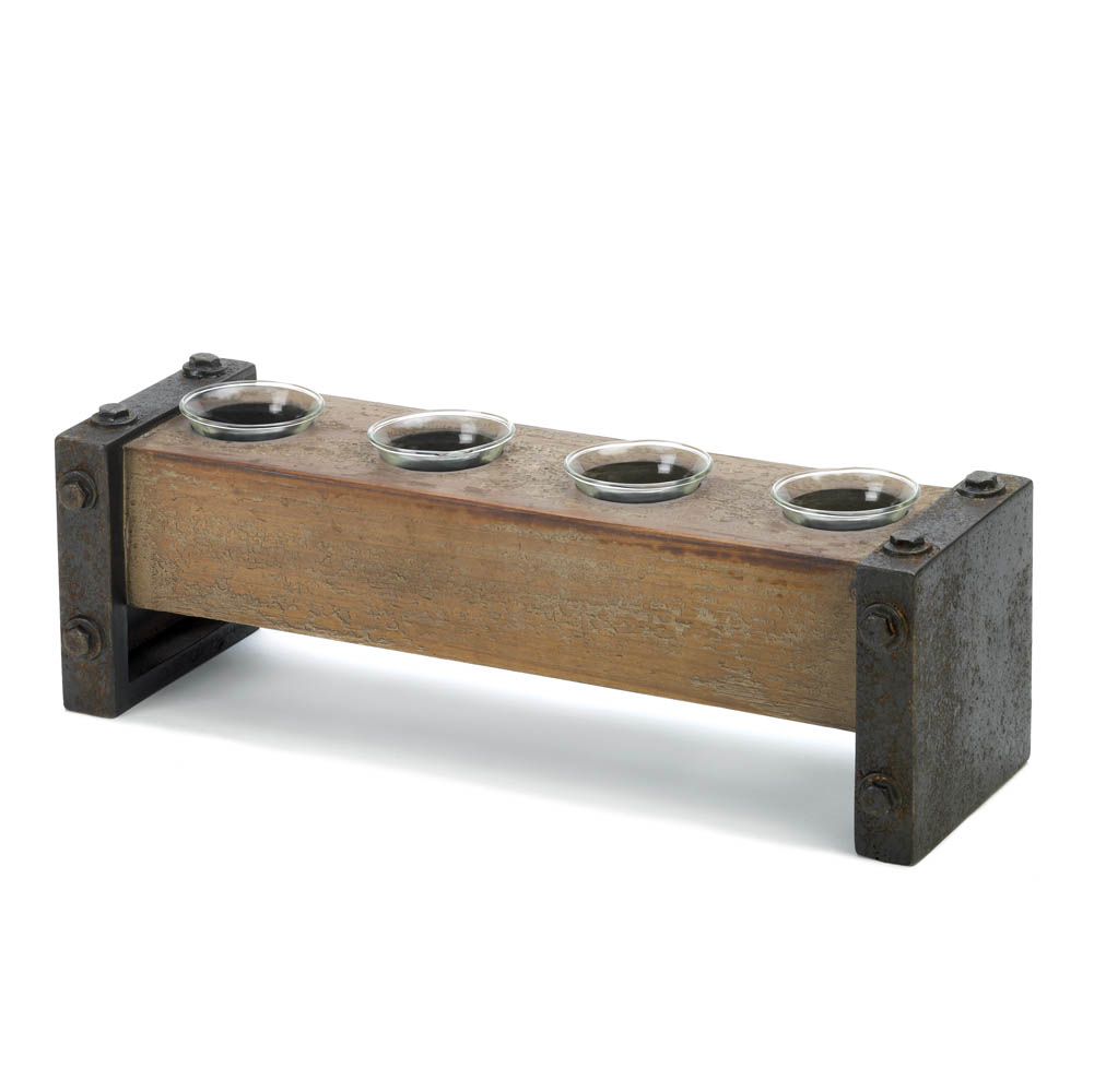 Industrial Wooden Candle Holder Wholesale at Koehler Home