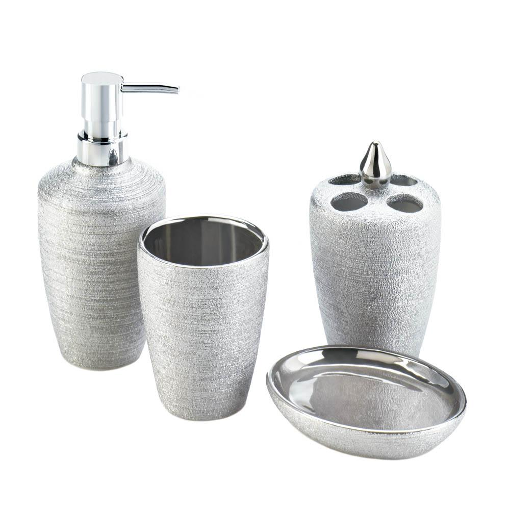 Silver bathroom accessories sets - Crackle Mirror Bathroom Accessories