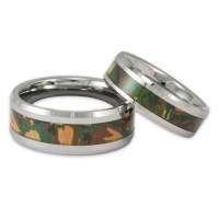 His and Her Woodland Camo Tungsten Ring Set Couples ...