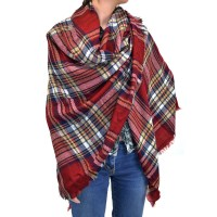 Warm Plaid Woven Oversized Fringe Scarf Blanket Shawl Wrap ...