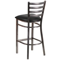 Clear Coated Ladder Back Metal Restaurant Barstool with ...