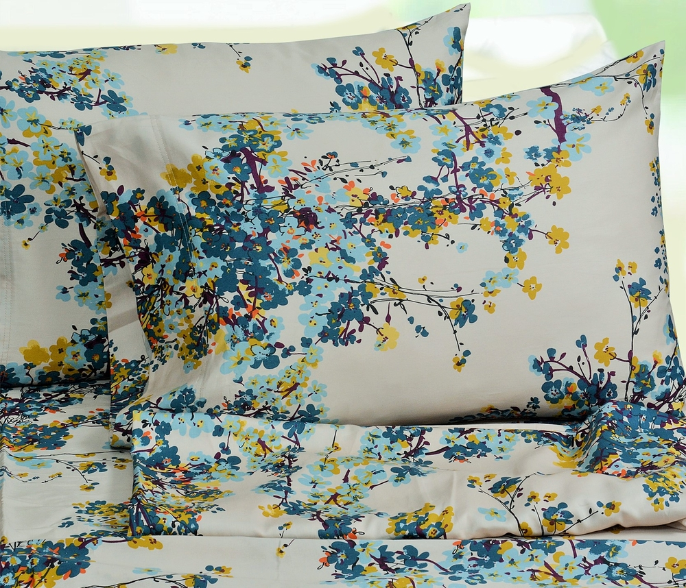 100 Egyptian Cotton Sheets Casablanca Floral Printed Egyptian Cotton 300 Thread Count Deep