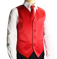 Boys Tuxedo Vest Set . Solid Red (K10