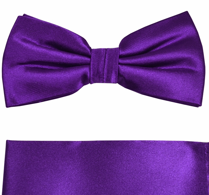 Satin Purple Bow Tie and Pocket Square Set by Paul Malone