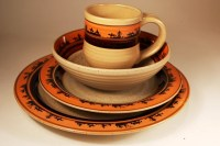 (ART-DS516) ''Cowboy'' Western 16-Piece Dinnerware Set