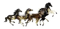(PS3752) Western Running Horses Metal Wall Art - Set of 2