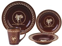 (RWSA9165) ''Saddle & Rope'' Western 16-Piece Porcelain ...