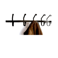 Black Iron 5 Hook Wall Mount Coat Rack - Coat Racks