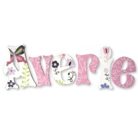 Averie Pink Butterfly Swirl Hand Painted Wall Letters