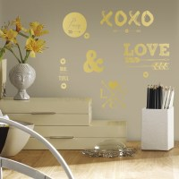 Gold Love with Hearts and Arrows Wall Decals ...