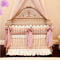 Orchid Lilac Silk Crib Bedding Set by Little Crown Interiors