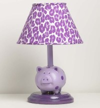 Purple Polka Dot Pig Lamp On Round Base With Purple ...