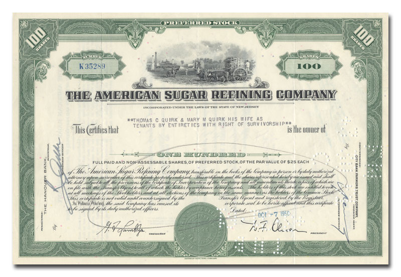 American Sugar Refining Company Stock Certificate, issued\/canceled - company share certificates