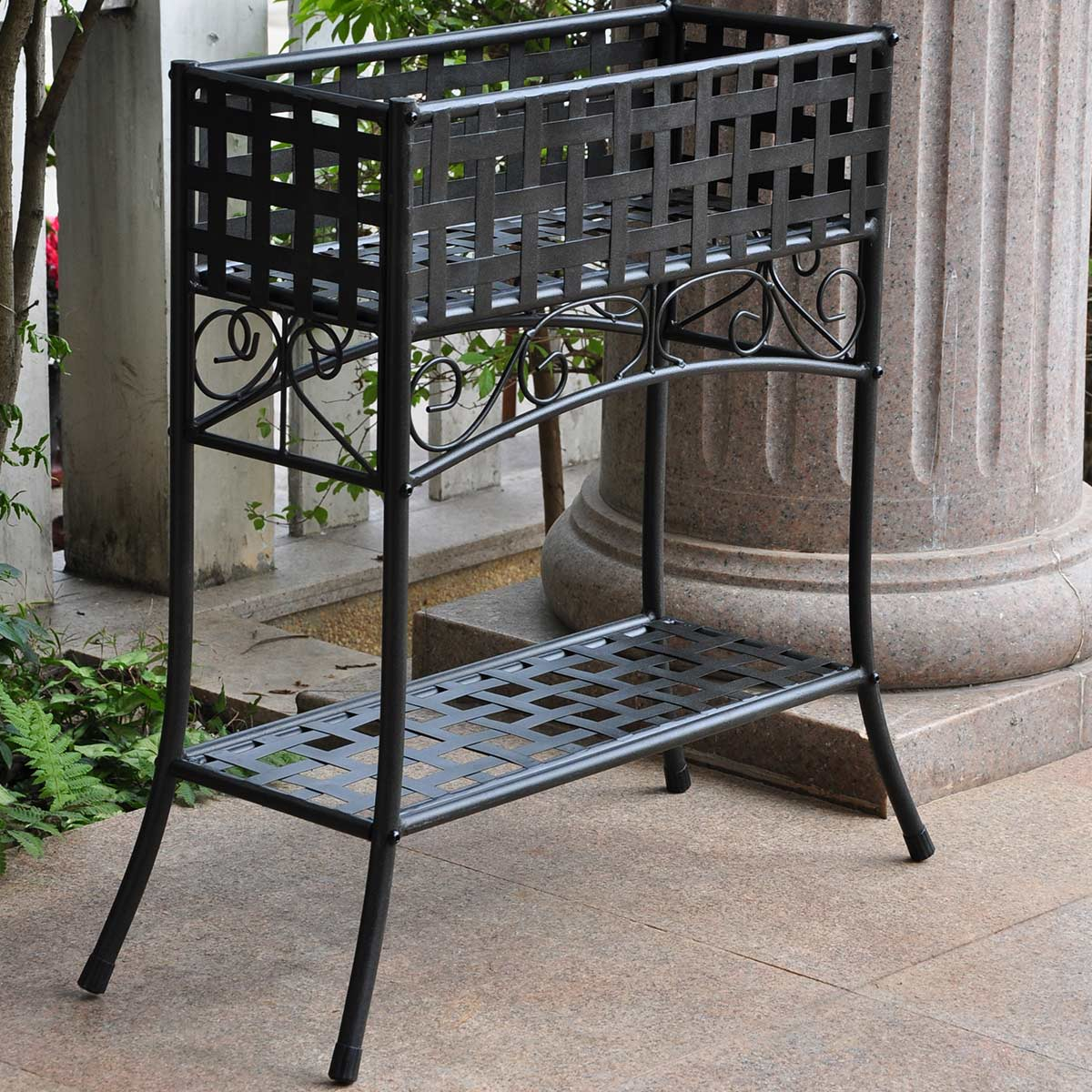 Green Metal Plant Stand International Caravan Mandalay Iron Rectangular Plant