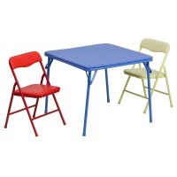 Kids Colorful 3 Piece Folding Table and Chair Set ...