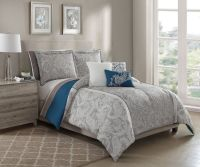 10 Piece Annalise Taupe/Teal/Ivory Bed in a Bag Set