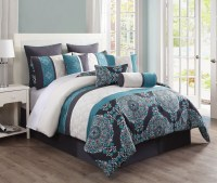 10 Piece Justine Charcoal and Teal Reversible Comforter Set