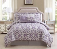 11 Piece Laugh Lavender/Taupe Bed in a Bag Set