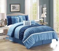 7 Piece Ruched Navy/Blue Comforter Set