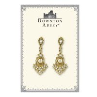 Elegant Crystal and Pearl Drop Earrings Downton Abbey