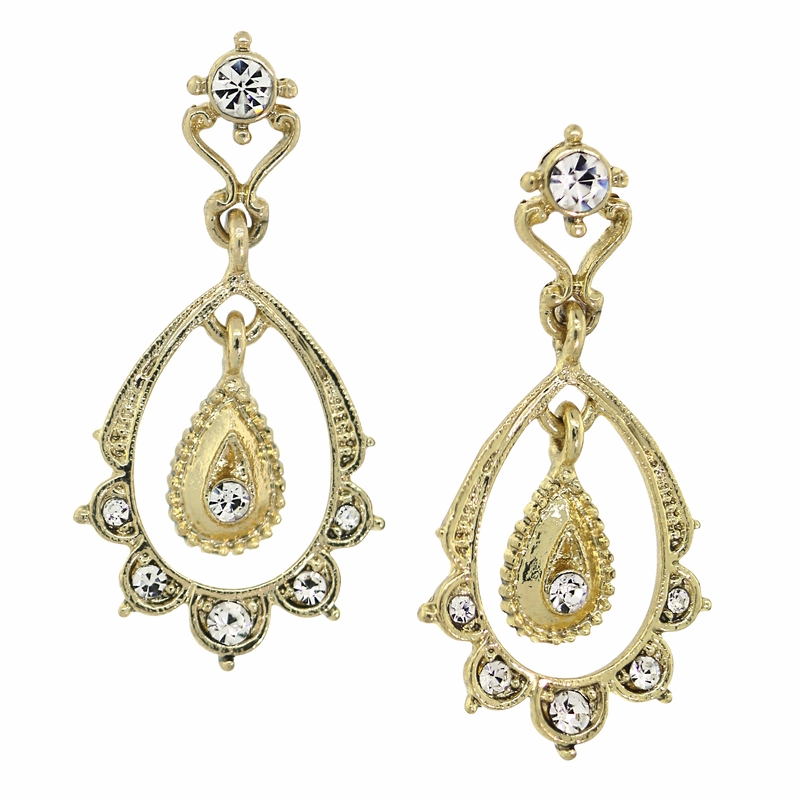 Gold Scallop Drop Earrings Downton Abbey Collection by