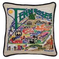 Tennessee Hand-Embroidered Pillow by Catstudio