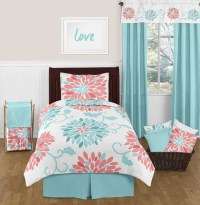 Turquoise and Coral Emma 4pc Twin Girls Teen Bedding Set ...