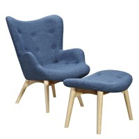 Aiden Mid-Century Modern Blue Fabric Chair & Ottoman In ...