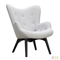 Aiden Mid-Century Modern White Fabric Chair & Ottoman In ...