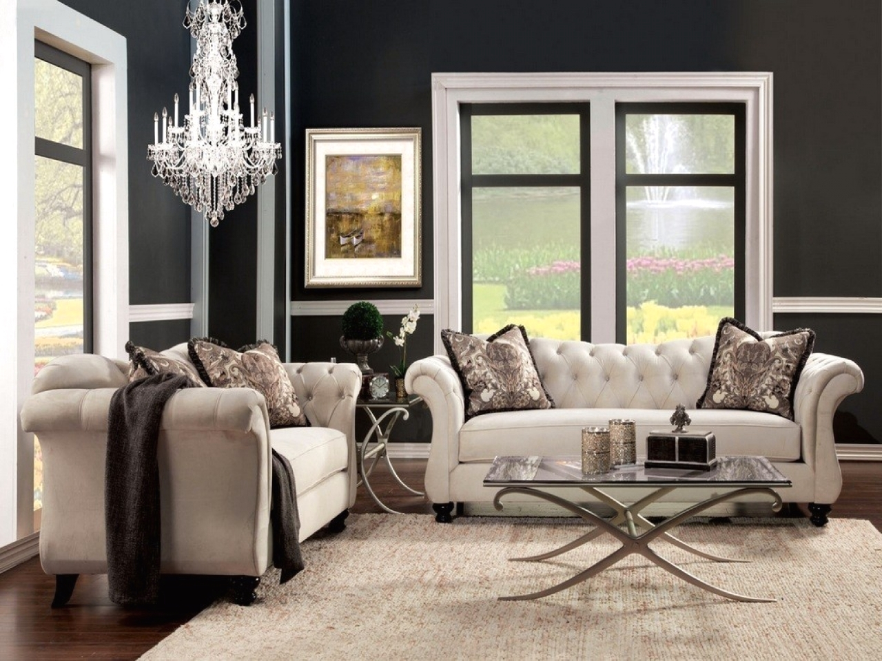 Living Room Furniture Ivory Sofa Antoinette Crystal Button Tufted Transitional Living Room