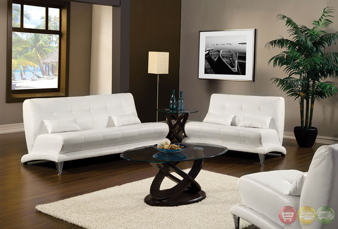 Artem Modern White Living Room Set with Pillows SM6072