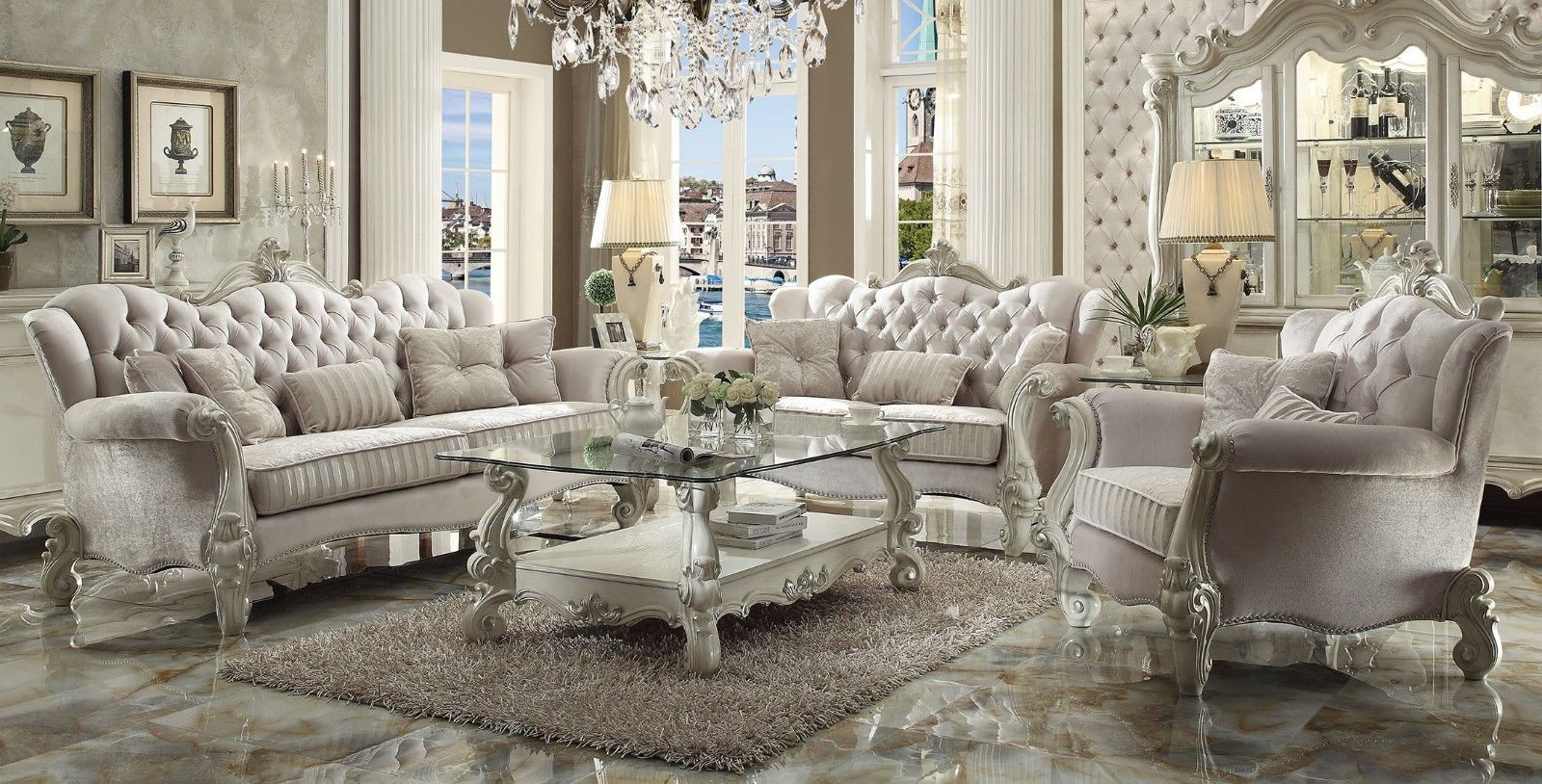 Living Room Furniture Ivory Sofa Versailles Traditional Ivory Velvet Formal Living Room Set