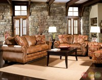 Birmingham Traditional Golden Brown Living Room Set with ...
