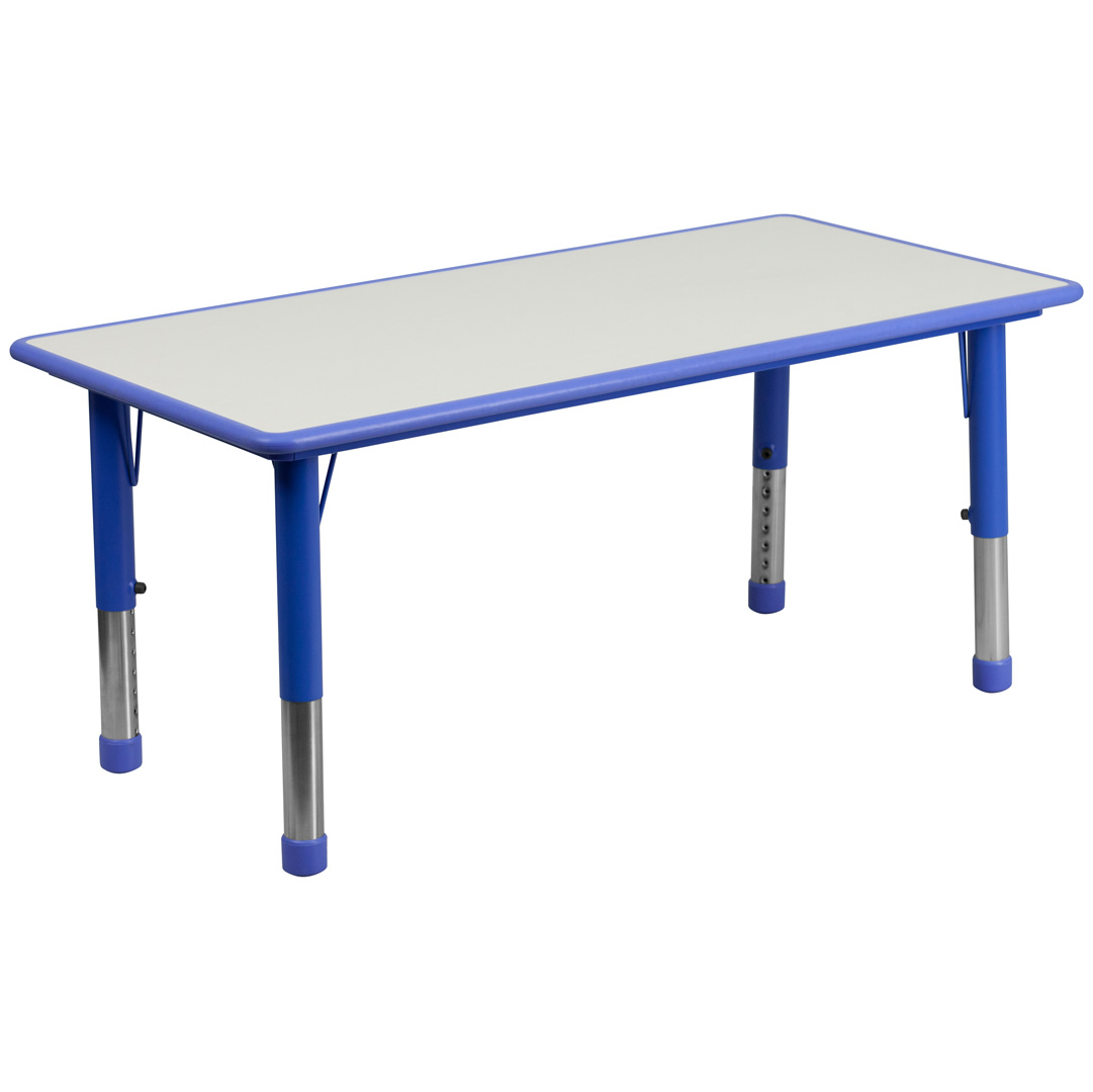 Adjustable Height Activity Table Blue Plastic Rectangular School Activity Table Adjustable
