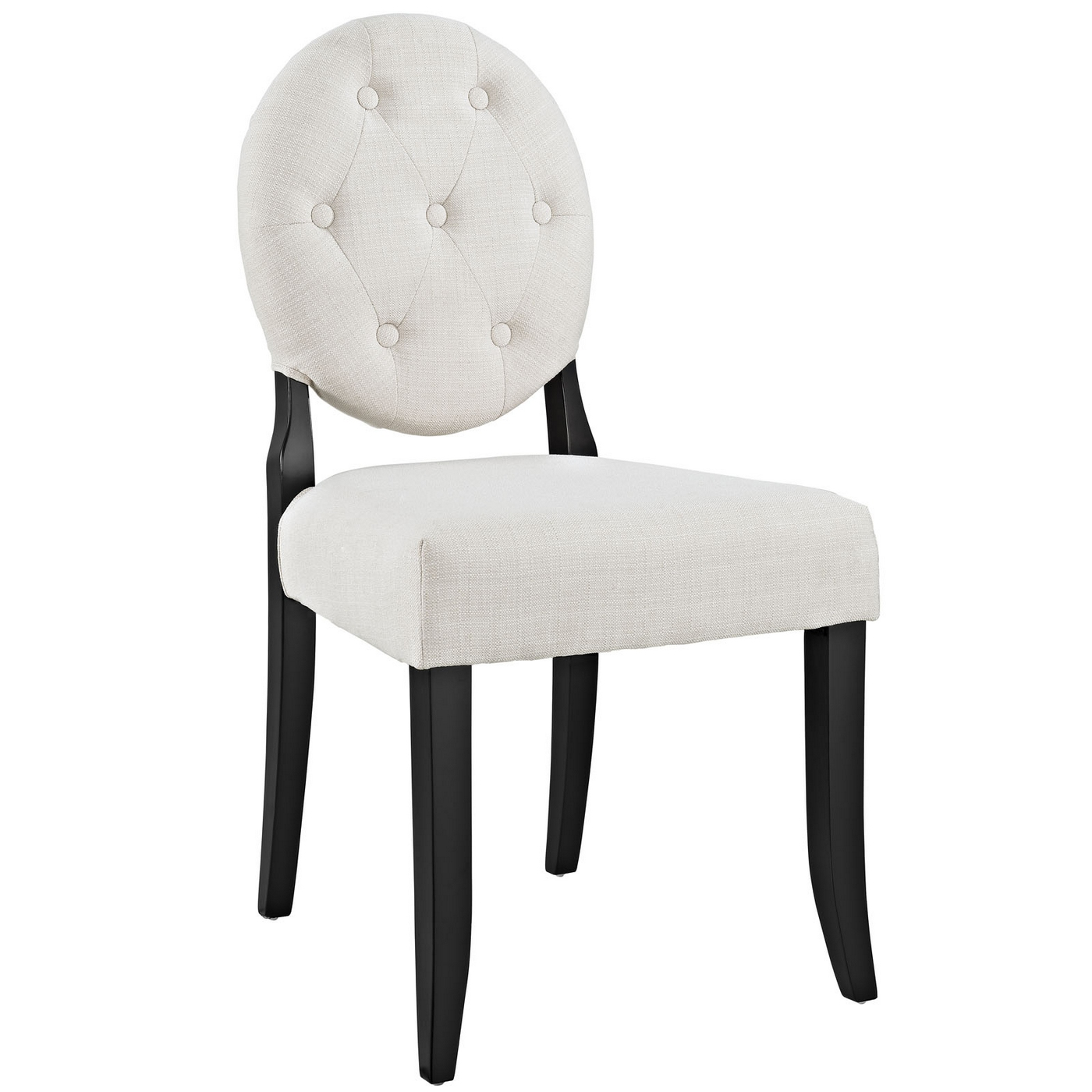 Button Modern Round Back Upholstered Dining Side Chair W