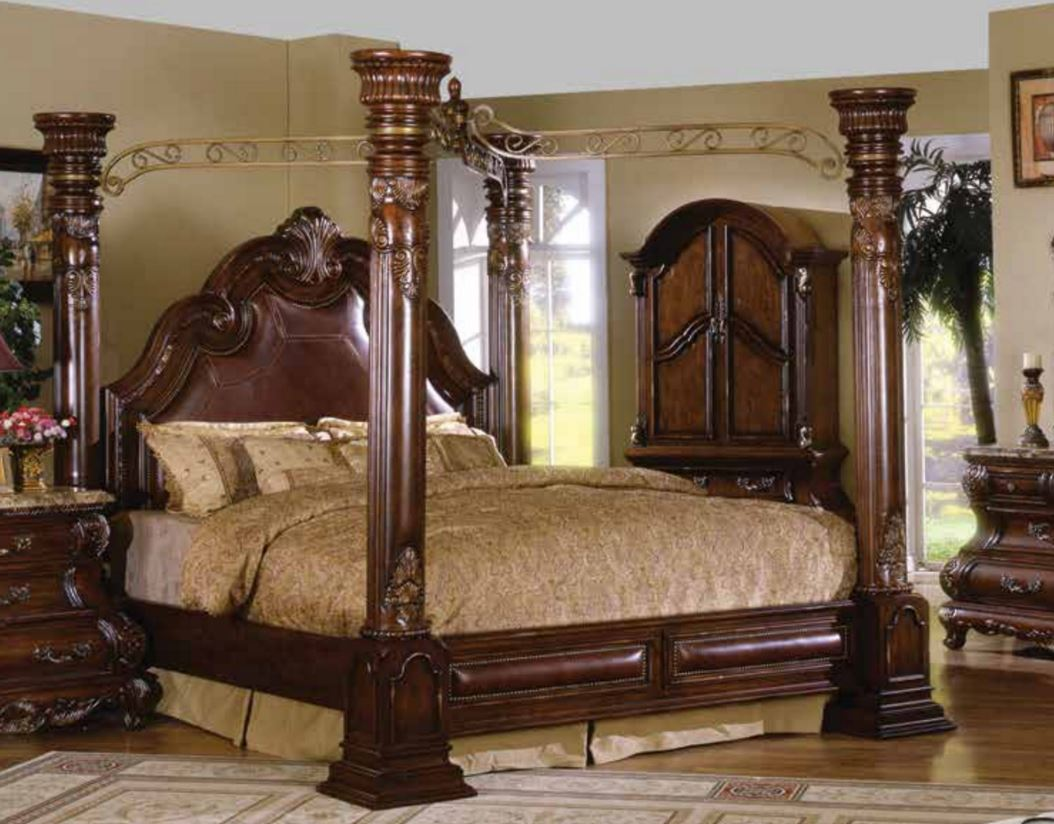 High Poster Bed King Caledonian Brown Cherry California King Poster Canopy Bed