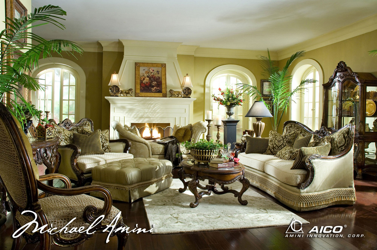 Luxury Living Room Michael Amini Chateau Beauvais Luxury Traditional Formal