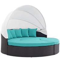 Convene Modular Outdoor Patio Round Canopy Daybed With ...