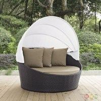 Convene Modular Rattan Outdoor Patio Canopy Daybed With ...