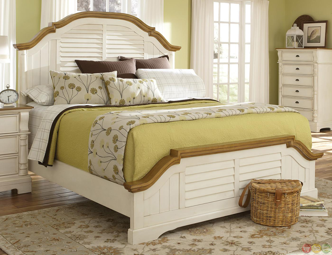 Two Bedroom Set Country Two Tone Finish Shutter Detail Bedroom Set