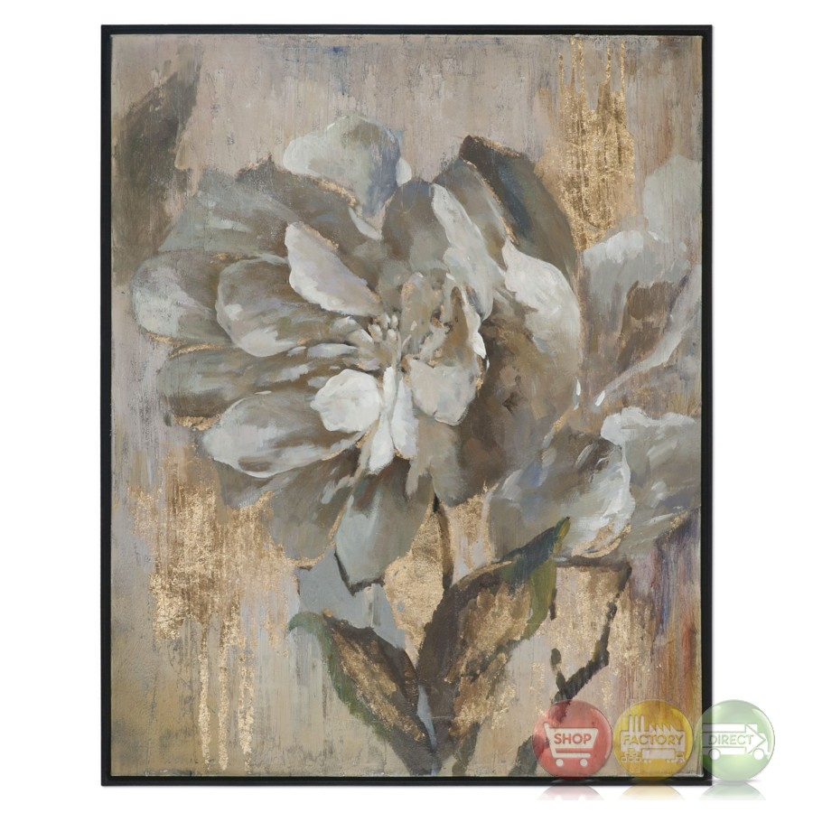 Dazzling Gray Gold Floral Wall Art On Canvas With Narrow