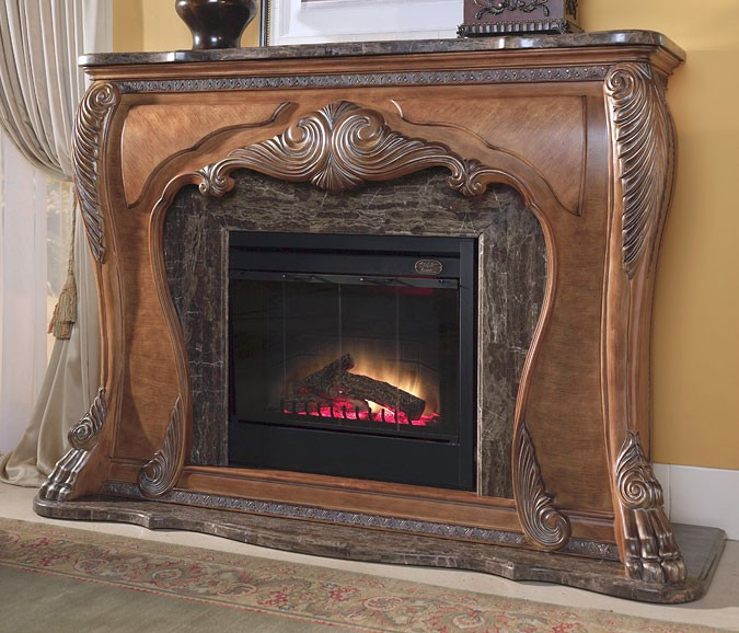 Michael Amini Eden Traditional Fireplace & Marble Top w