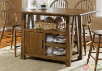 Counter height kitchen table with storage