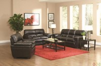 Fenmore Black Faux Leather Contemporary 3 Piece Living ...