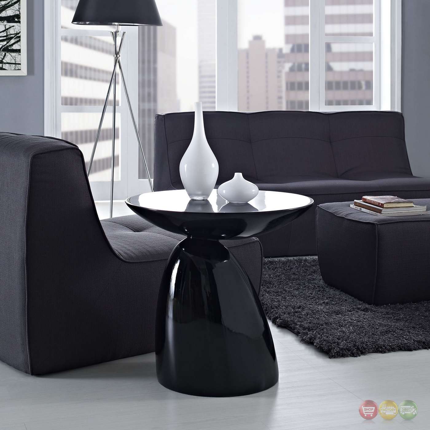 Stylish Table Flow Ultra Modern High Gloss Round End Table With Stylish