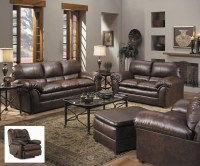 Geneva Classic Brown Bonded Leather Living Room Furniture ...