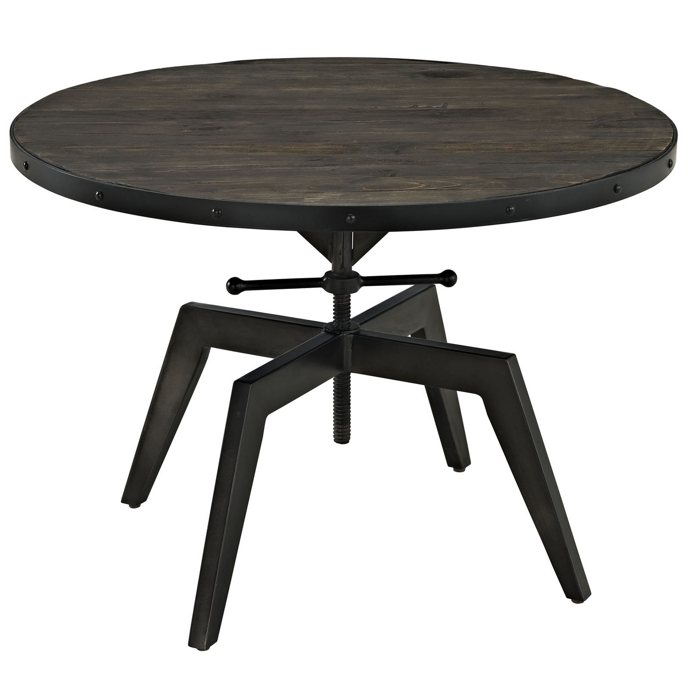 Grasp Industrial Round Pine Wood Coffee Table With Metal