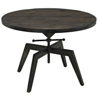 Grasp Industrial Round Pine Wood Coffee Table With Metal ...