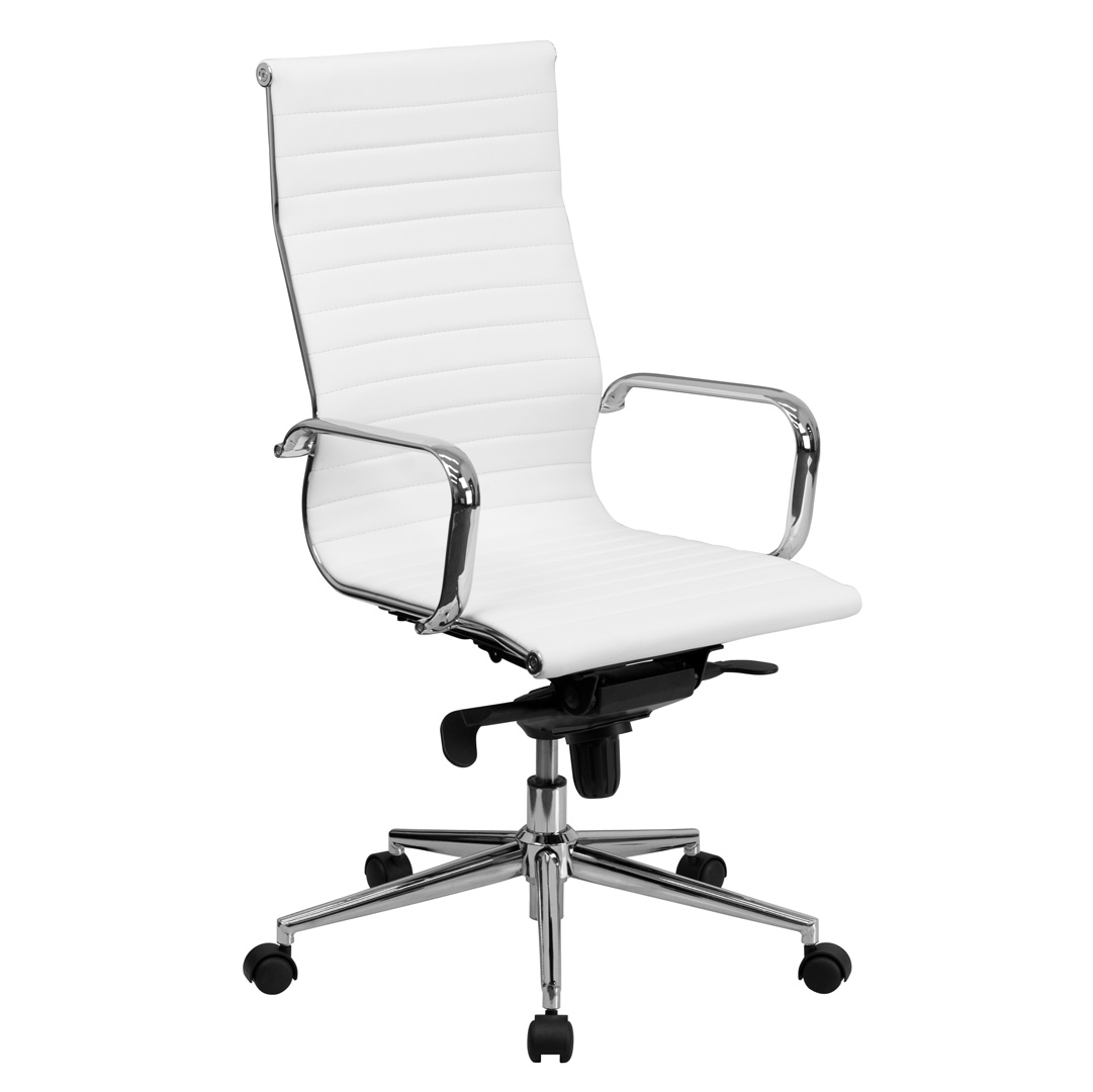 Office Chair White High Back White Ribbed Upholstered Leather Executive